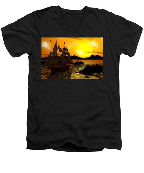 Wooden Ships Men's V-Neck T-Shirt by Robert Orinski
