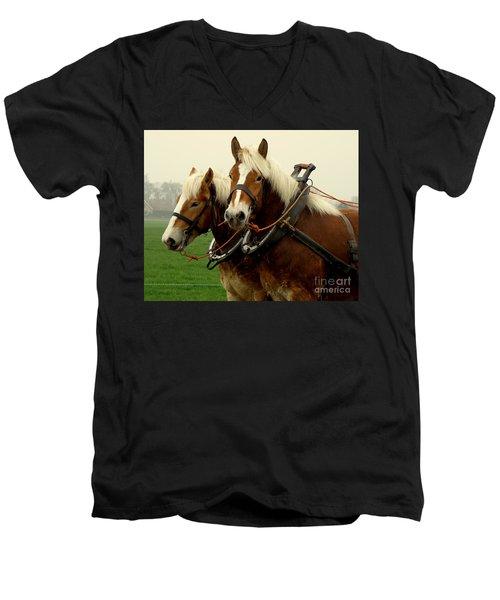 Work Horses Men's V-Neck T-Shirt by Lainie Wrightson