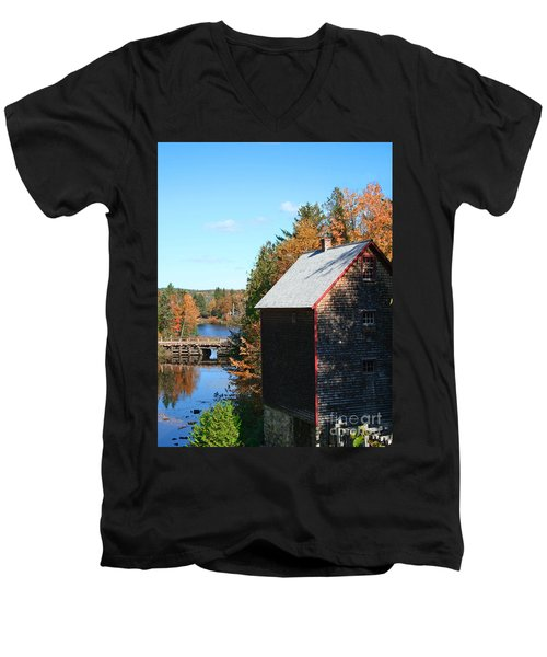 Men's V-Neck T-Shirt featuring the photograph Working Gristmill by Barbara McMahon