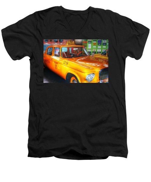 Yellow Cab No.29 Men's V-Neck T-Shirt by Dan Stone