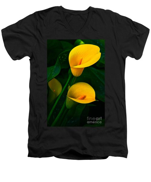 Yellow Calla Lilies Men's V-Neck T-Shirt