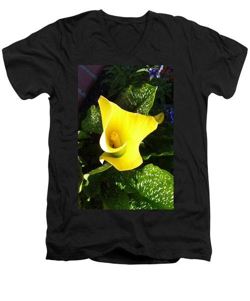 Men's V-Neck T-Shirt featuring the photograph Yellow Calla Lily by Carla Parris