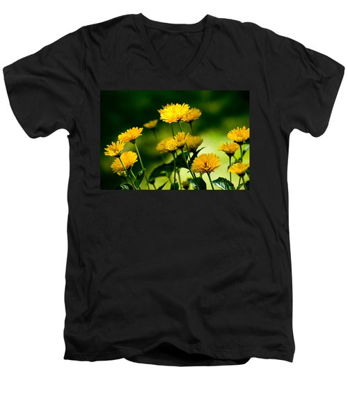 Yellow Daisies Men's V-Neck T-Shirt by Rich Franco