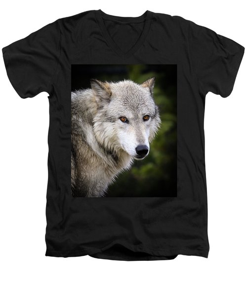 Men's V-Neck T-Shirt featuring the photograph Yellow Eyes by Steve McKinzie