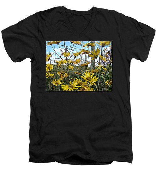 Men's V-Neck T-Shirt featuring the photograph Yellow Flowers By The Roadside by Alice Gipson