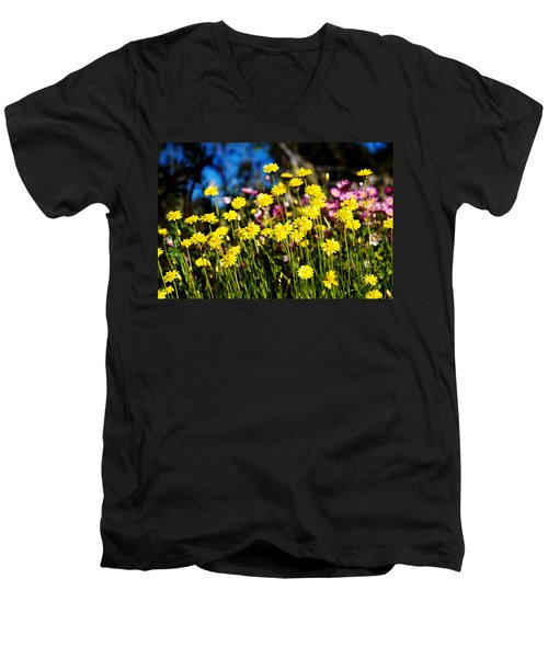 Men's V-Neck T-Shirt featuring the photograph Yellow Flowers by Yew Kwang
