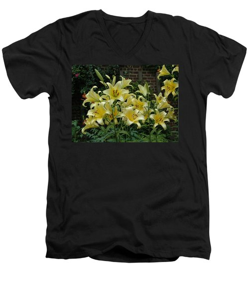 Men's V-Neck T-Shirt featuring the photograph Yellow Oriental Stargazer Lilies by Tom Wurl