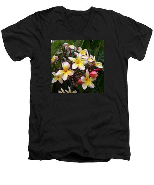 Men's V-Neck T-Shirt featuring the digital art Yellow Plumeria by Claude McCoy