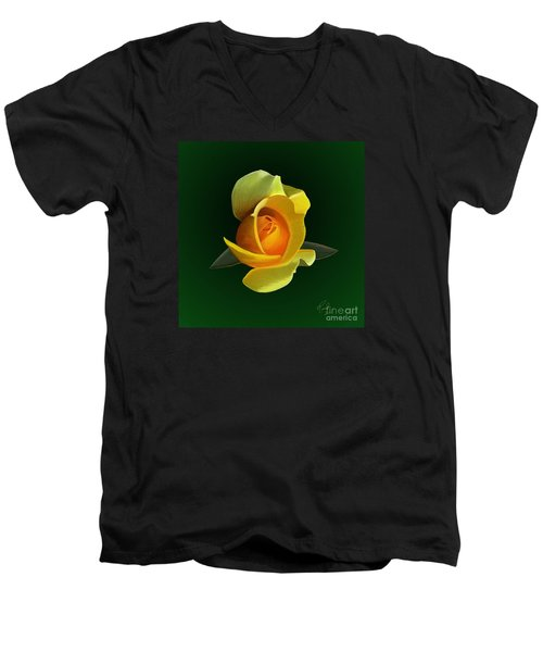 Men's V-Neck T-Shirt featuring the painting Yellow Rose by Rand Herron