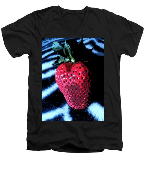 Men's V-Neck T-Shirt featuring the photograph Zebra Strawberry by Kym Backland