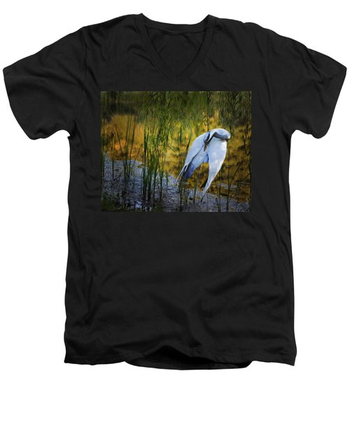 Zen Pond Men's V-Neck T-Shirt by Melinda Hughes-Berland