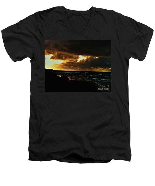 A Stormy Sunrise Men's V-Neck T-Shirt