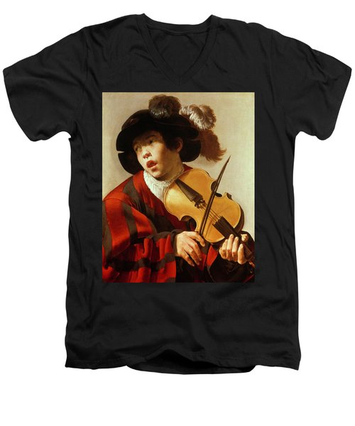 Boy Playing Stringed Instrument And Singing Men's V-Neck T-Shirt