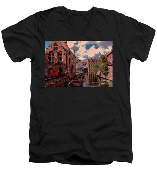 Men's V-Neck T-Shirt featuring the photograph  Brugge Belgium by Mim White