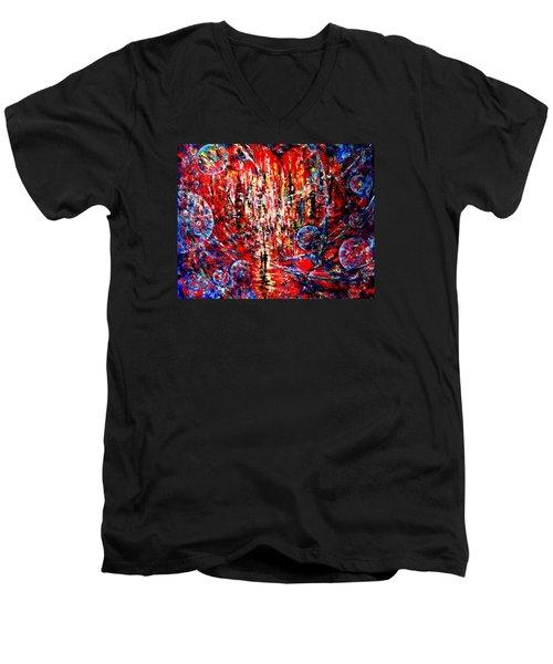 City Of Light Men's V-Neck T-Shirt by Helen Kagan
