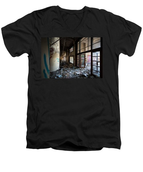 Demolished School Building- Urban Decay Men's V-Neck T-Shirt by Dirk Ercken