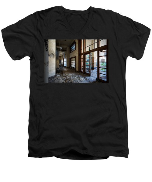 Demolished School Building- Urban Exploration Men's V-Neck T-Shirt by Dirk Ercken
