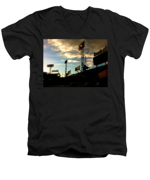 Men's V-Neck T-Shirt featuring the photograph  Fenway Lights Fenway Park David Pucciarelli  by Iconic Images Art Gallery David Pucciarelli