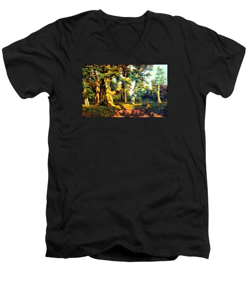Men's V-Neck T-Shirt featuring the painting   Green Summer-the Oak Forest by Henryk Gorecki