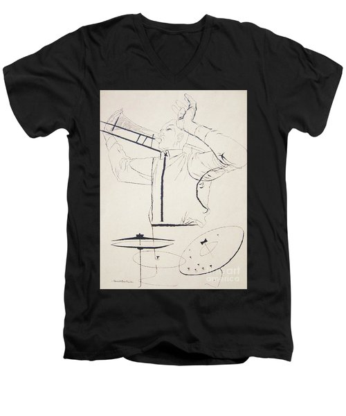 Men's V-Neck T-Shirt featuring the drawing  Jazz Image by Reproduction