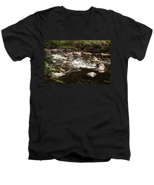 Little Stream At The Hermitage Men's V-Neck T-Shirt by Martina Fagan