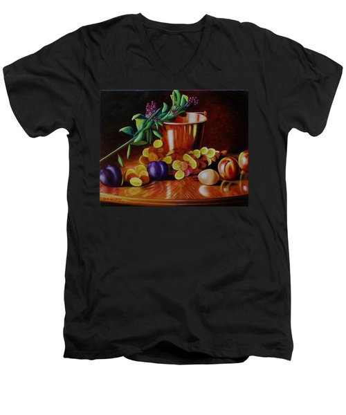 Men's V-Neck T-Shirt featuring the painting  Pail Of Plenty by Gene Gregory