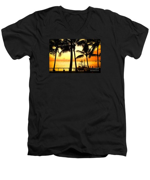 Men's V-Neck T-Shirt featuring the painting  Palm Sunset On The Keys by Judy Kay