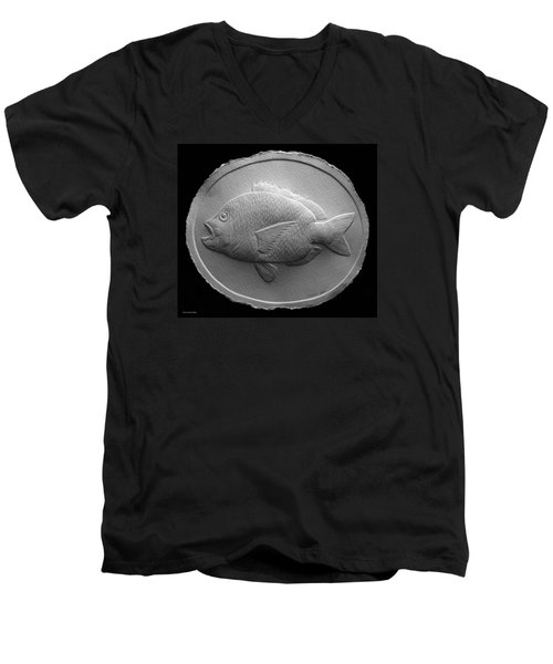 Relief Saltwater Fish Drawing Men's V-Neck T-Shirt by Suhas Tavkar