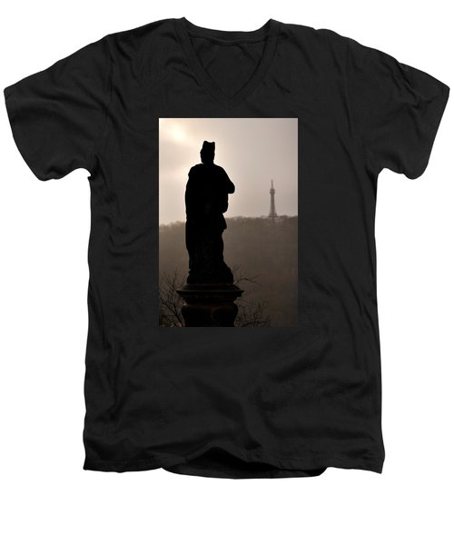 Statue And Petrin Tower Men's V-Neck T-Shirt