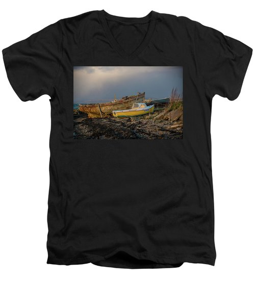 Sunset In The Highlands Men's V-Neck T-Shirt by Terry Cosgrave