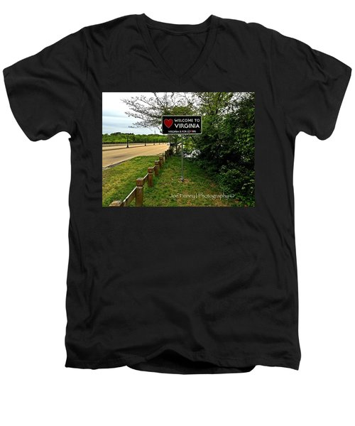 Men's V-Neck T-Shirt featuring the digital art  Welcome To Virginia  - No.430 by Joe Finney