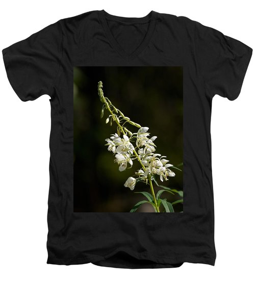 Men's V-Neck T-Shirt featuring the photograph  White Fireweed by Jouko Lehto