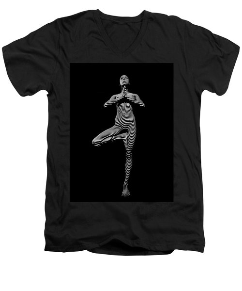 0027-dja Yoga Balance Black White Zebra Stripe Photograph By Chris Maher Men's V-Neck T-Shirt