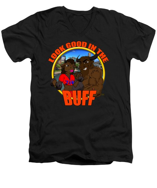 07 Look Good In The Buff Men's V-Neck T-Shirt by Michael Frank Jr