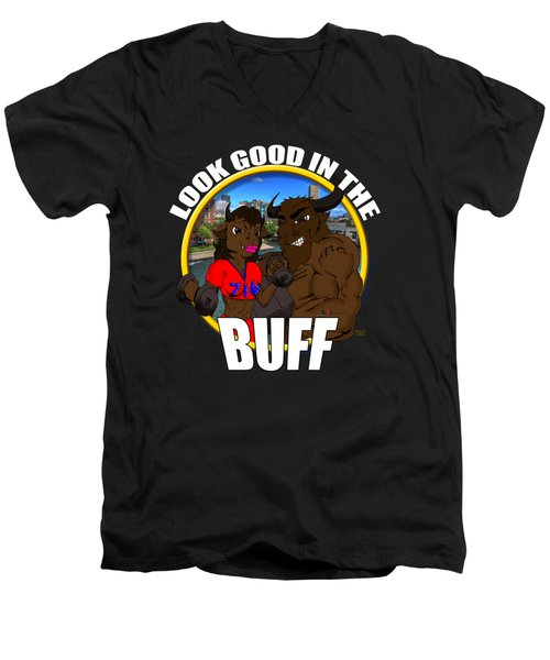 013 Look Good In The Buff Men's V-Neck T-Shirt by Michael Frank Jr