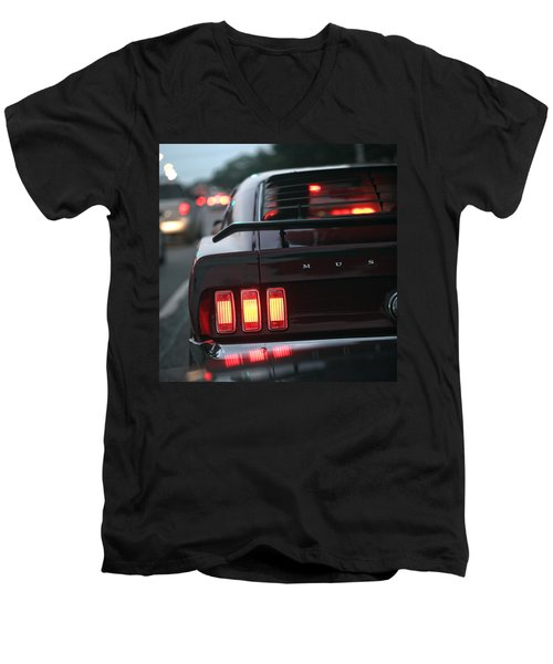 Men's V-Neck T-Shirt featuring the photograph 1969 Ford Mustang Mach 1 by Gordon Dean II