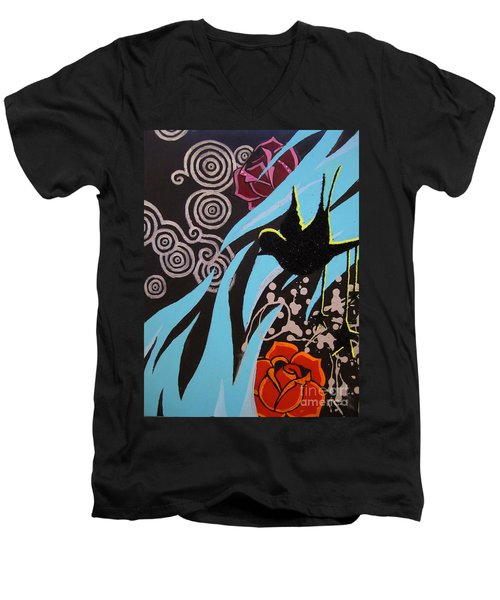 Men's V-Neck T-Shirt featuring the painting A Beautiful Flight by Ashley Price
