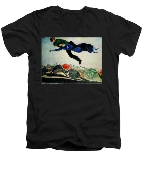 Above The Town Men's V-Neck T-Shirt by Chagall