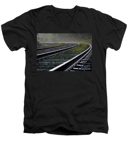 Men's V-Neck T-Shirt featuring the photograph Around The Bend by Douglas Stucky