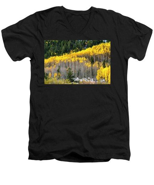 Aspen Trees In Fall Color Men's V-Neck T-Shirt