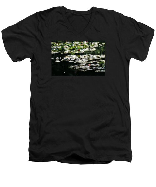 Men's V-Neck T-Shirt featuring the photograph At Claude Monet's Water Garden 7 by Dubi Roman