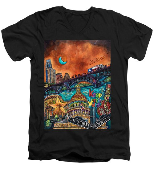 Austin Montage Men's V-Neck T-Shirt by Patti Schermerhorn