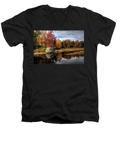 Men's V-Neck T-Shirt featuring the photograph Autumn In Maine by Greg DeBeck