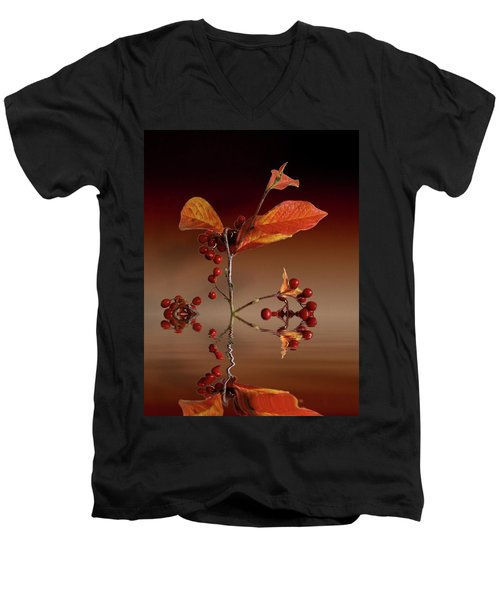 Men's V-Neck T-Shirt featuring the photograph Autumn Leafs And Red Berries by David French