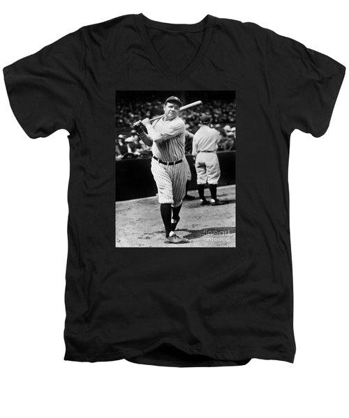 Babe Ruth Men's V-Neck T-Shirt by American School