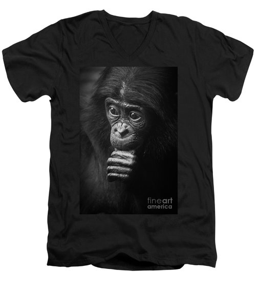 Men's V-Neck T-Shirt featuring the photograph Baby Bonobo Portrait by Helga Koehrer-Wagner