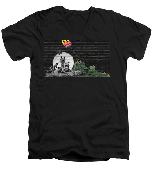 Banksy - The Tribute - New World Order Men's V-Neck T-Shirt by Serge Averbukh