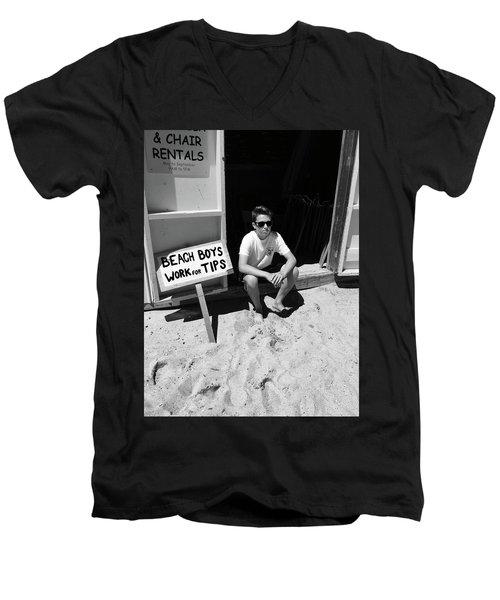 Beach Boys Work For Tips Men's V-Neck T-Shirt