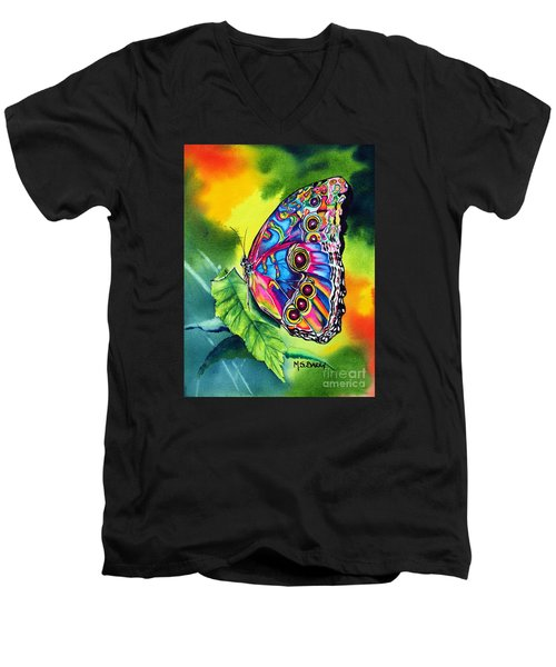Men's V-Neck T-Shirt featuring the painting Beatrice Butterfly by Maria Barry