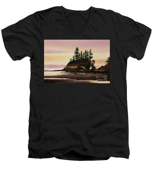 Men's V-Neck T-Shirt featuring the painting Beautiful Shore by James Williamson